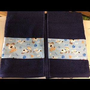 Navy blue hand towel set with blue doggie fabric